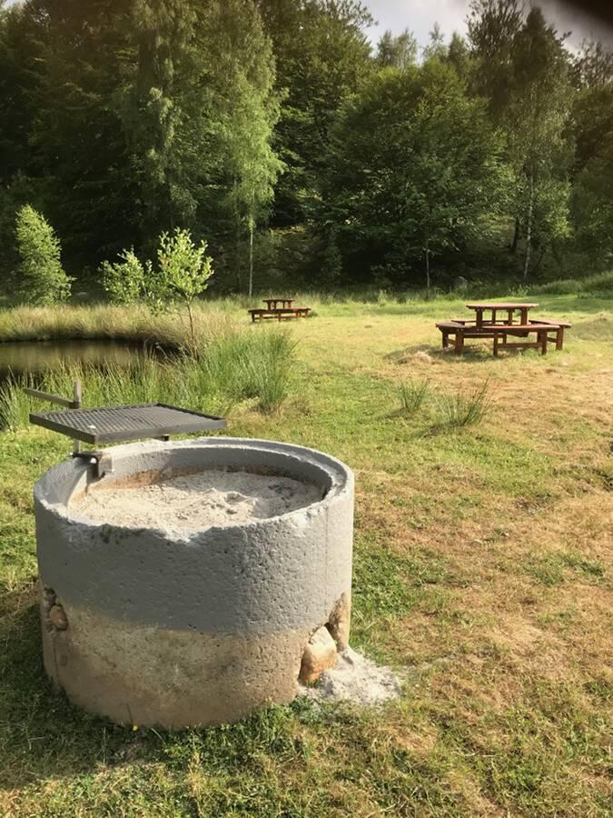 Barbecue Grillplatsen vid stora dammen Ullstorps stugor